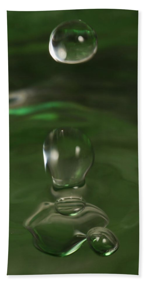 Abstract Bath Sheet featuring the photograph Water Drop Abstract Green 37 by John Brueske