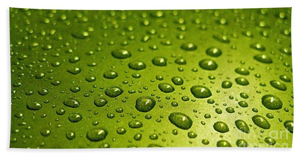 Water Drops.green Card Hand Towel featuring the photograph Green Card. Macro Photography Series by Ausra Huntington nee Paulauskaite
