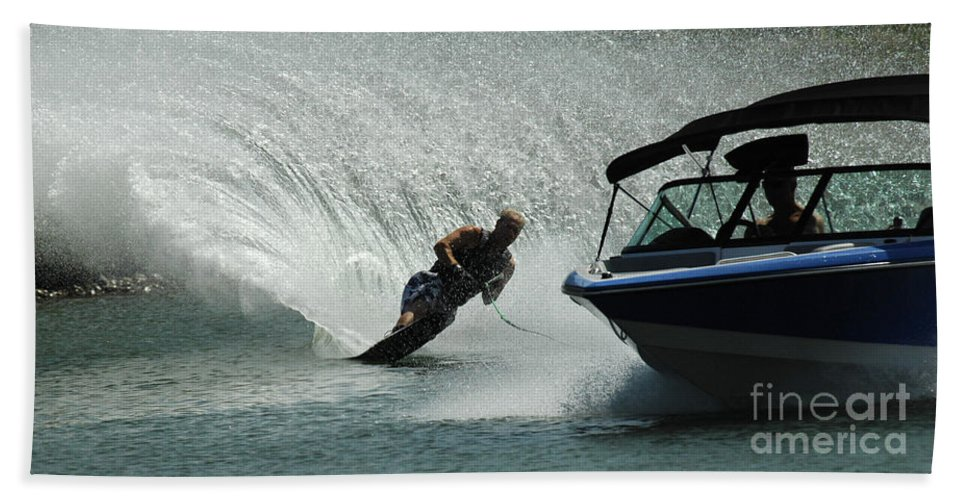 Water Skiing Bath Sheet featuring the photograph Water Skiing Magic Of Water 6 by Bob Christopher