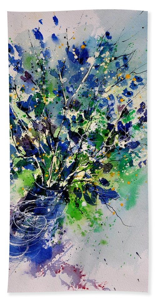 Flowers Bath Sheet featuring the painting Watercolor 110190 by Pol Ledent