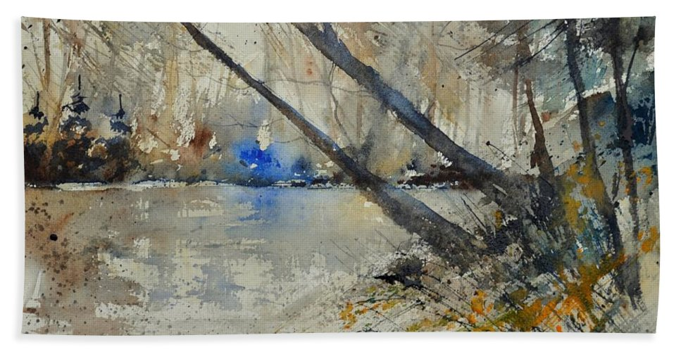 Landscape Hand Towel featuring the painting Watercolor 119080 by Pol Ledent
