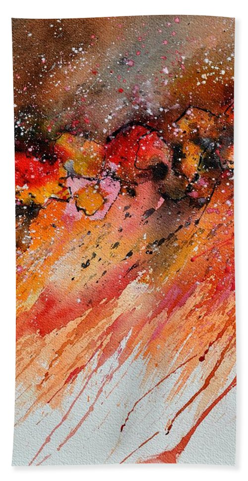 Abstract Hand Towel featuring the painting Watercolor 212022 by Pol Ledent