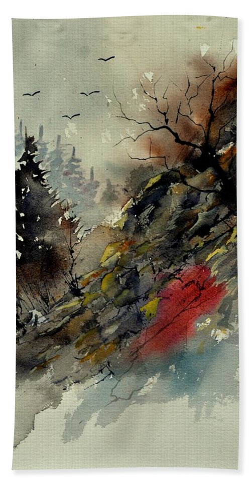 Landscape Bath Sheet featuring the painting Watercolor 213040 by Pol Ledent