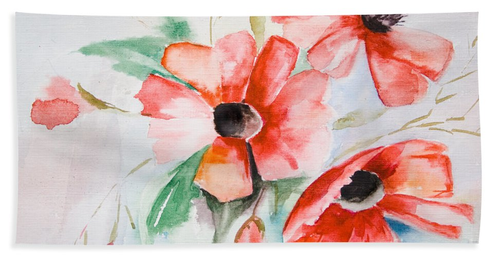 Backdrop Hand Towel featuring the painting Watercolor Poppy Flower by Regina Jershova