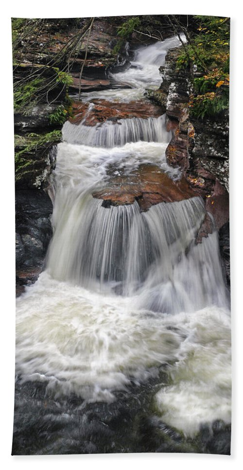 Waterfall Hand Towel featuring the photograph Waterfall At Ricketts Glen by Dave Mills