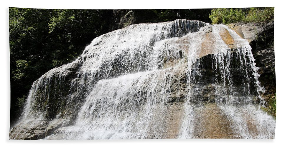Treman Hand Towel featuring the photograph Waterfall At Treman State Park Ny by Ted Kinsman