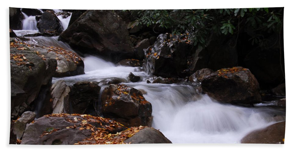 Waterfall Hand Towel featuring the photograph Waterfall In Fall by Cindy Manero