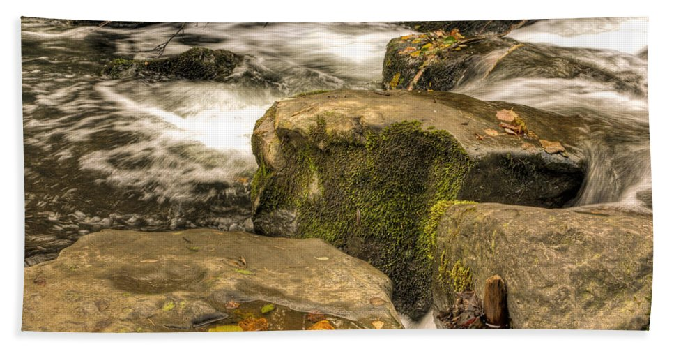Waterfall Hand Towel featuring the photograph Waterfall In Fall by Steve Purnell