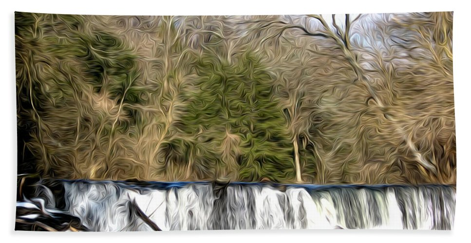 Waterfall In The Woods Bath Sheet featuring the photograph Waterfall In The Woods by Bill Cannon