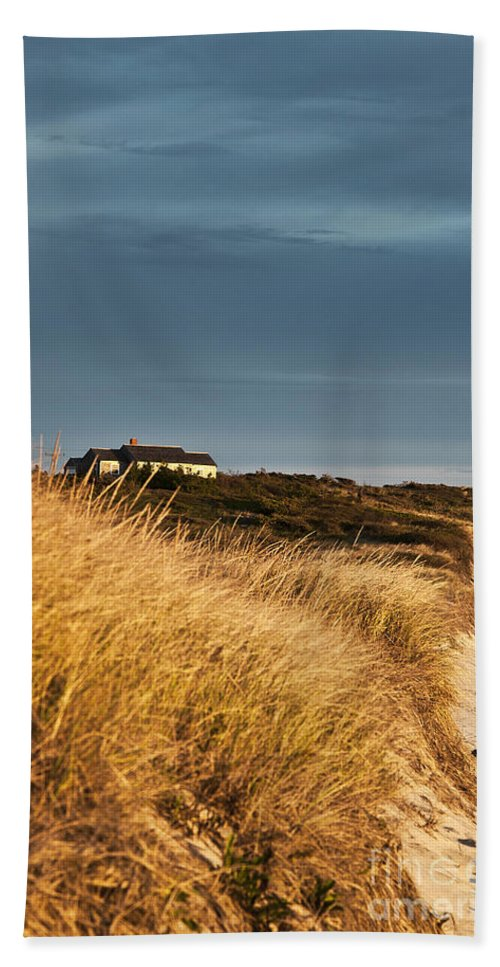 Cape Cod Bath Sheet featuring the photograph Waterfront Beach Cottage by John Greim