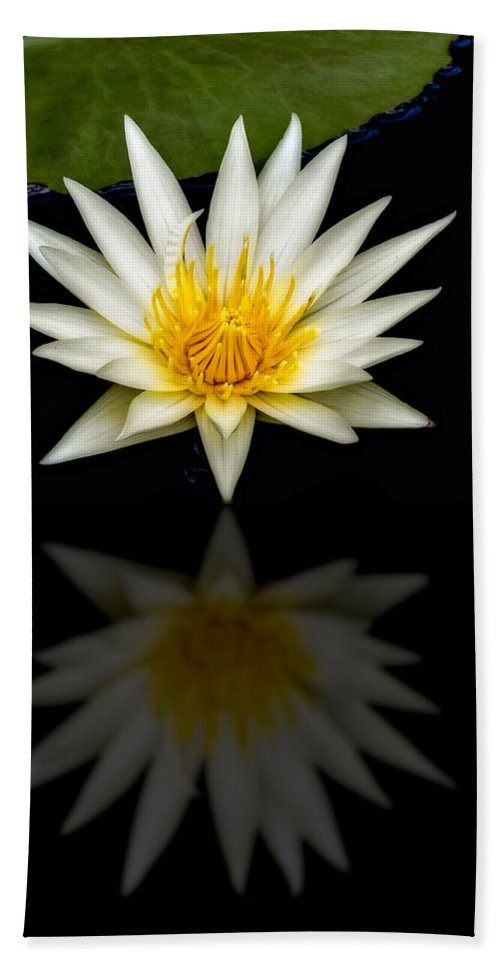 Tropical Bath Sheet featuring the photograph Waterlily And Reflection by Susan Candelario