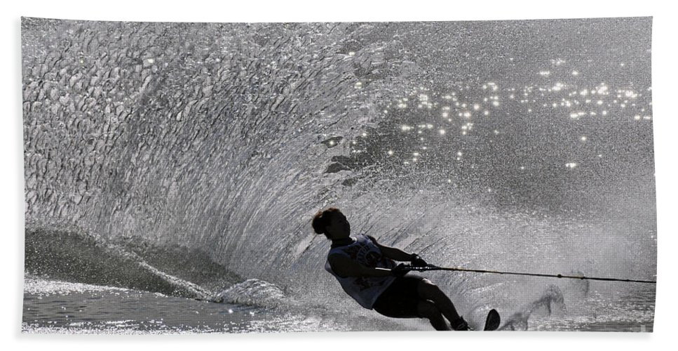 Water Skiing Bath Sheet featuring the photograph Waterskiing 1 by Vivian Christopher