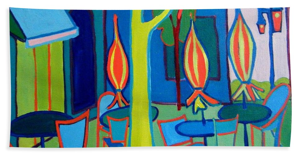Landscape Hand Towel featuring the painting Summer Cafe by Debra Bretton Robinson