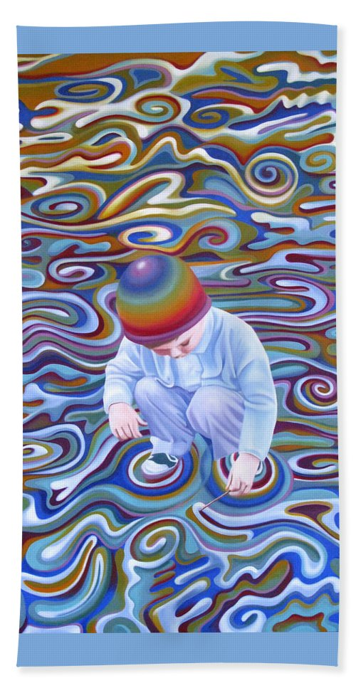 Boy Hand Towel featuring the painting Waves Of Dream by Pascal Roy