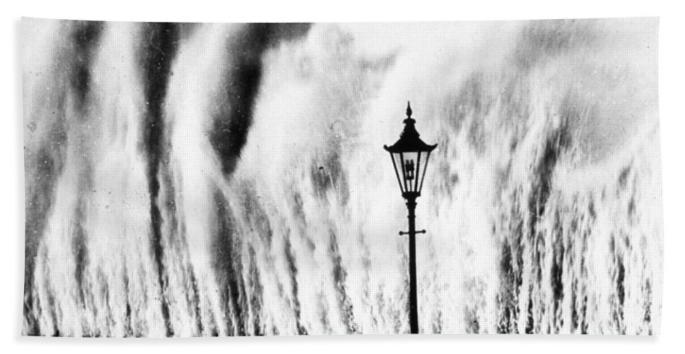 Weather Hand Towel featuring the photograph Waves Smashing Seawall, 1938 by Science Source