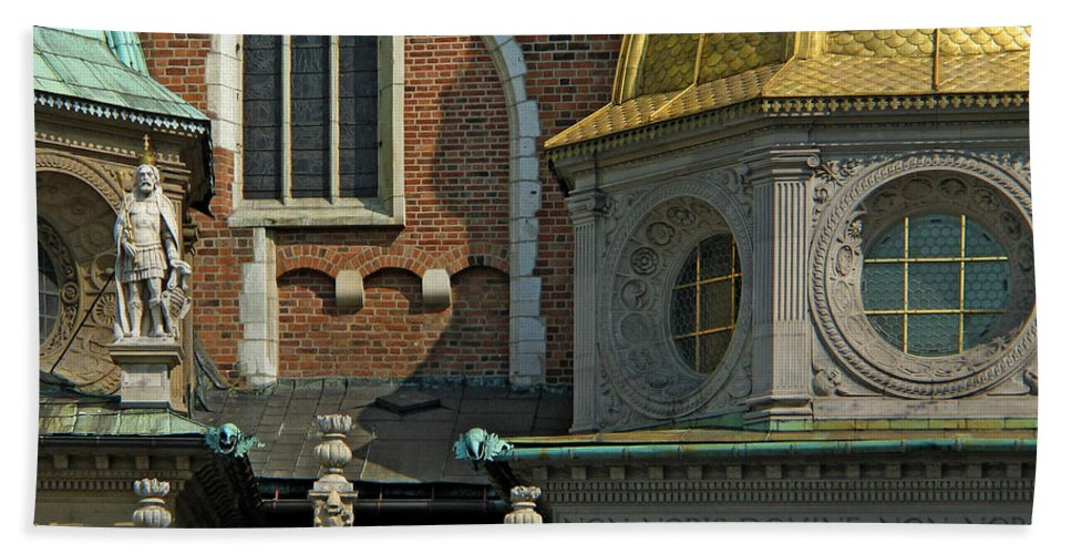 Wawel Bath Sheet featuring the photograph Wawel Domes In Krakow Poland by Greg Matchick