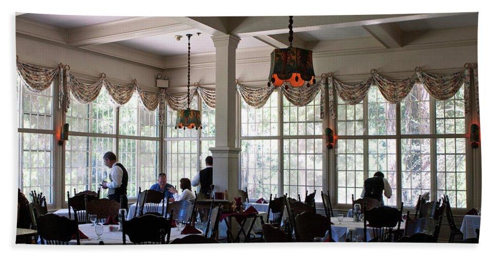 Yosemite Bath Sheet featuring the photograph Wawona Dining Room by Lorraine Devon Wilke