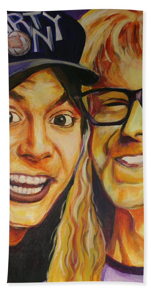 Wayne's World Hand Towel featuring the painting Wayne And Garth by Kate Fortin