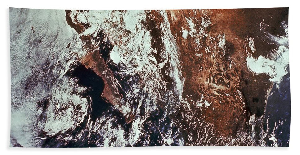 Color Image Bath Sheet featuring the photograph Weather Patterns Over Earth by Stocktrek Images