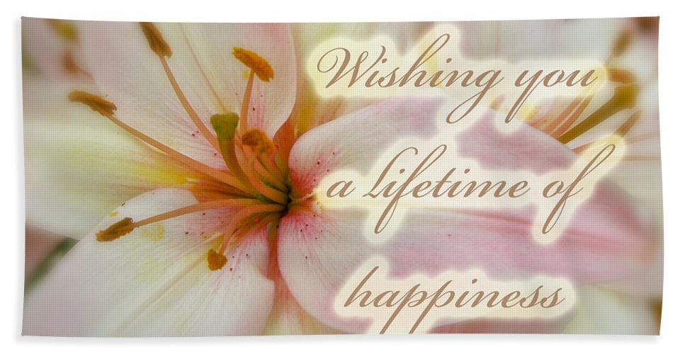 Wedding Hand Towel featuring the photograph Wedding Happiness Greeting Card - Lilies by Mother Nature