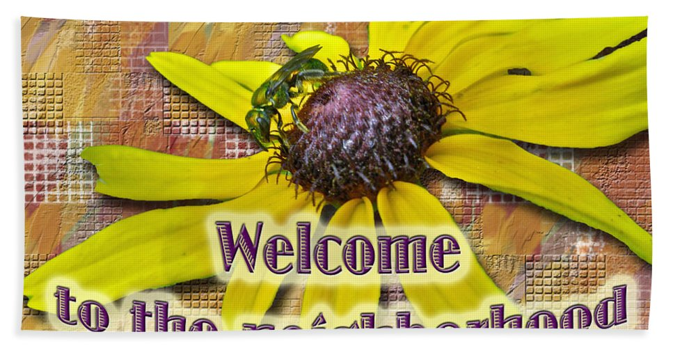 Neighbor Bath Sheet featuring the photograph Welcome New Neighbor Card - Bee And Black-eyed Susan by Mother Nature