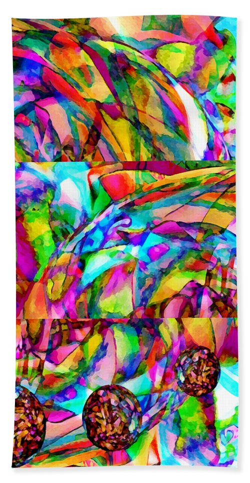 World Hand Towel featuring the mixed media Welcome To My World Triptych by Angelina Tamez