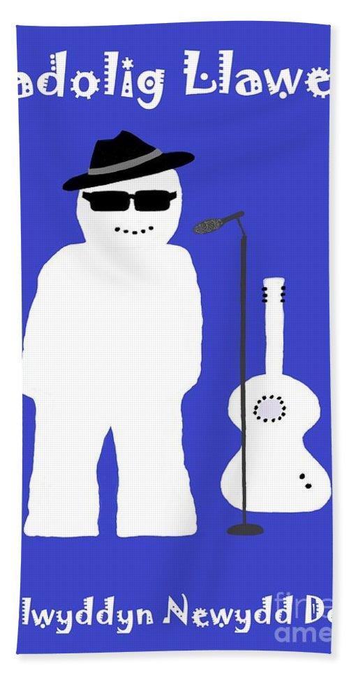 Christmas Bath Sheet featuring the digital art Welsh Snowman Musician by Barbara Moignard
