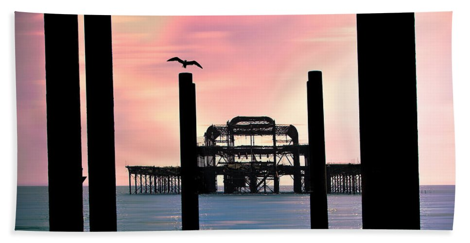 West Pier Bath Sheet featuring the photograph West Pier Silhouette by Chris Lord