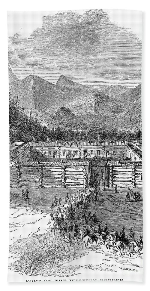 19th Century Bath Sheet featuring the photograph Western Fort, 19th Century by Granger
