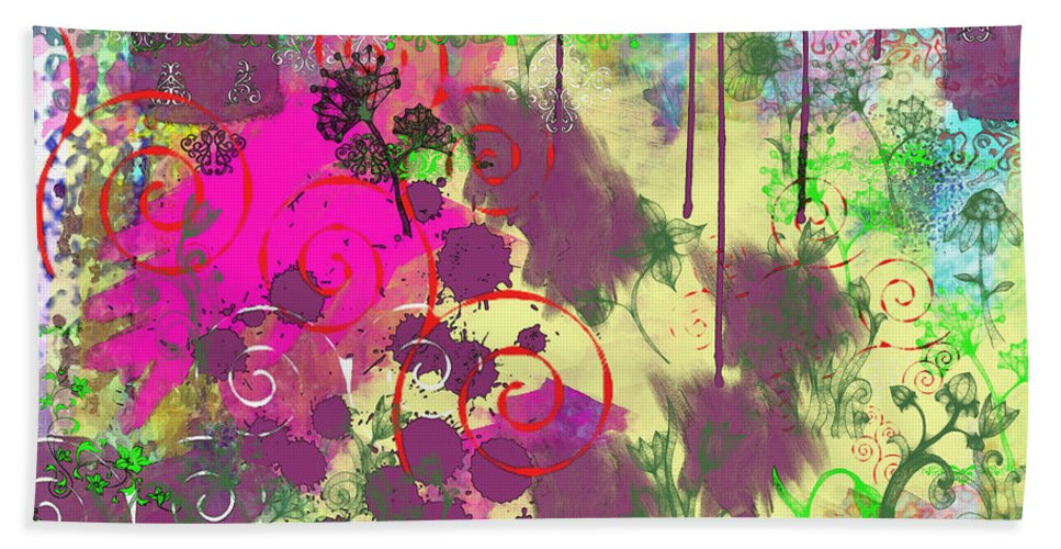Paint Bath Sheet featuring the digital art What A Mess by Debbie Portwood