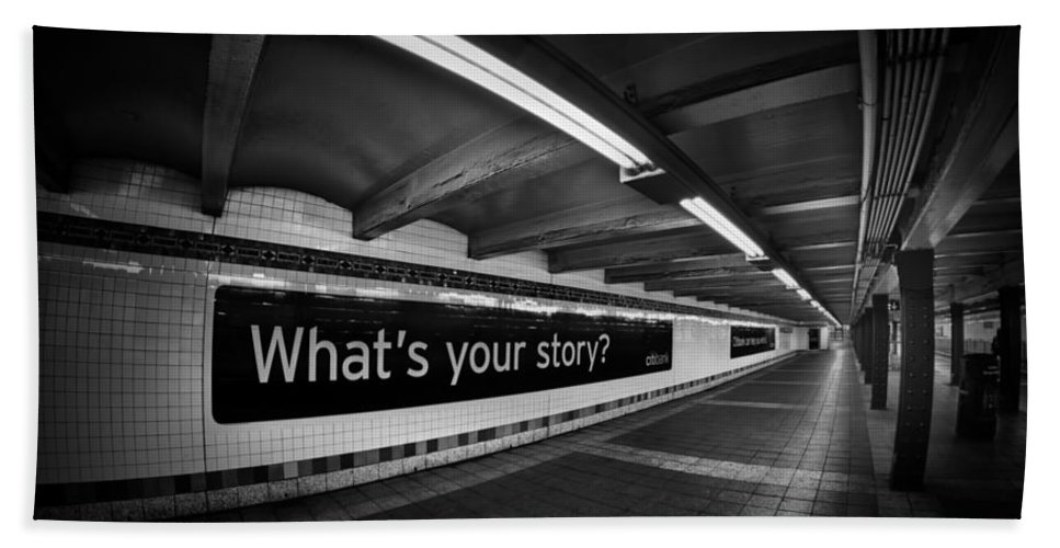 Subway Bath Sheet featuring the photograph What's Your Story by Evelina Kremsdorf