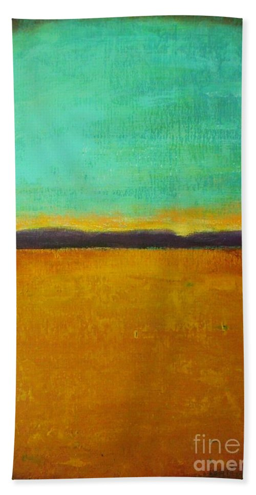 Abstract Hand Towel featuring the painting Wheat Field At Sunset by Vesna Antic