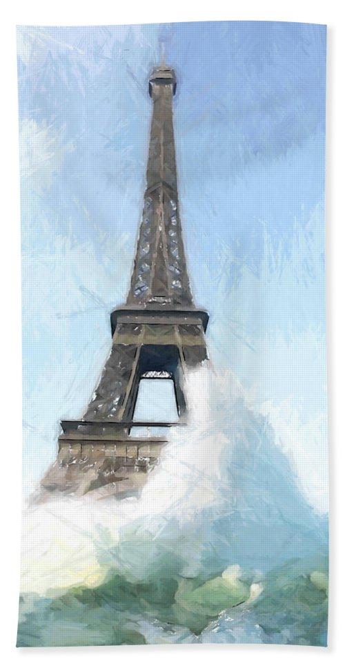 Ark Noah Flood Water High Tide Eifelturm Eiffel Tower Tour France Paris Wave Waves Painting Apocalypse Deluge Sinnflut Storm Water Atlantic Sea Ocean Judgment Day Hand Towel featuring the painting Where Is The Ark by Steve K