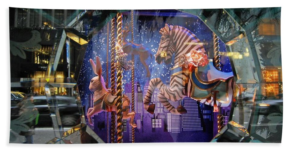 Carousel Bath Sheet featuring the photograph Tiffany's Carousel by Stefa Charczenko