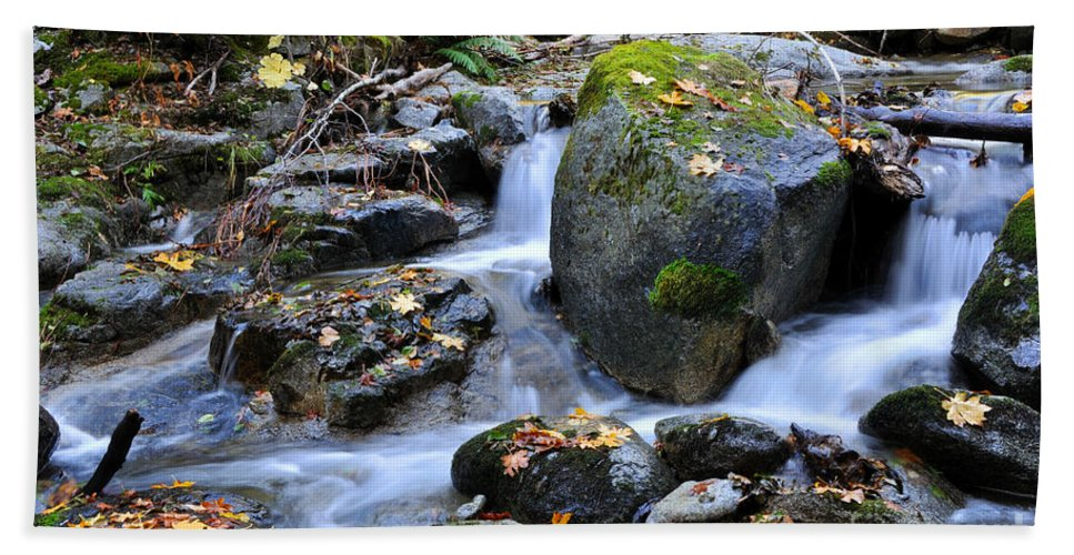 Autumn Hand Towel featuring the photograph Whisketown Stream In Autumn by Gary Whitton