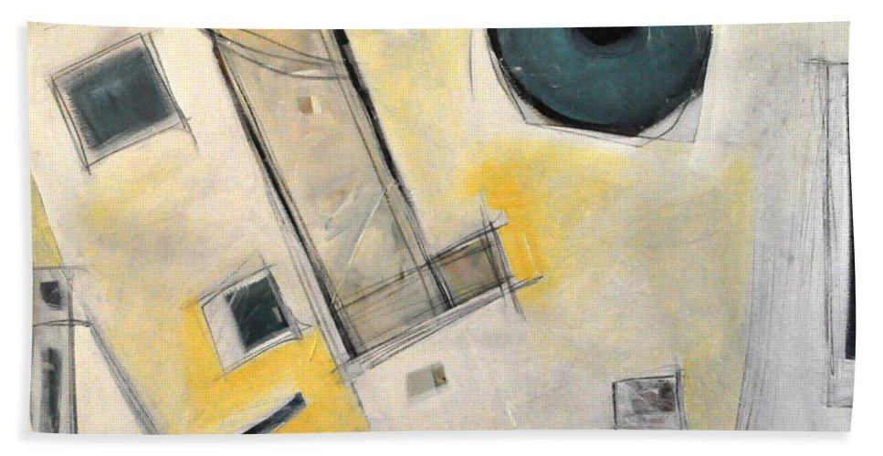 Abstract Bath Sheet featuring the painting Whistler by Tim Nyberg
