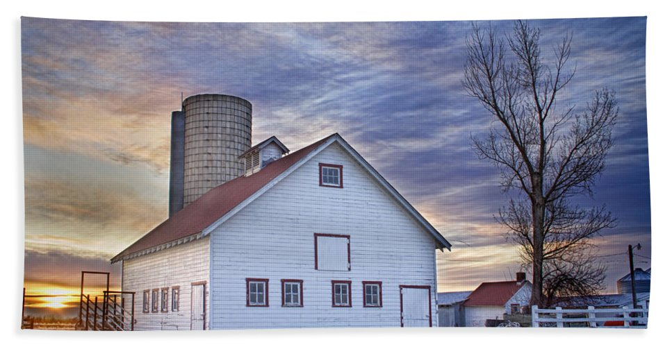Cool Bath Sheet featuring the photograph White Barn Sunrise by James BO Insogna