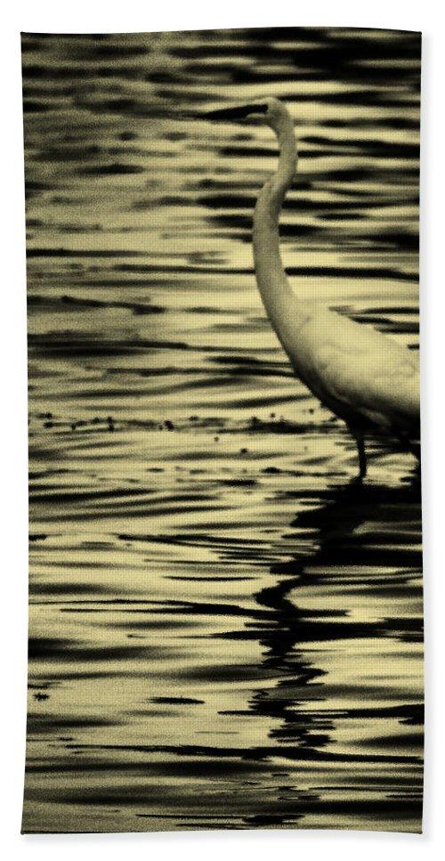 White Crane Bath Sheet featuring the photograph White Crane by Roger Wedegis