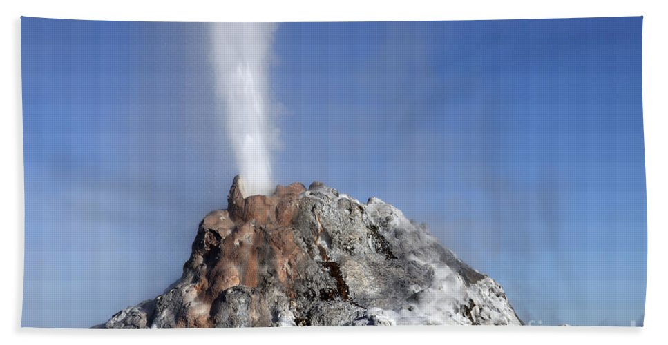 Unesco Bath Sheet featuring the photograph White Dome Geyser Erupting, Upper by Richard Roscoe