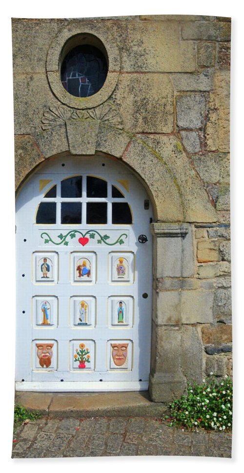 White Door Bath Sheet featuring the photograph White Door Provence France by Dave Mills