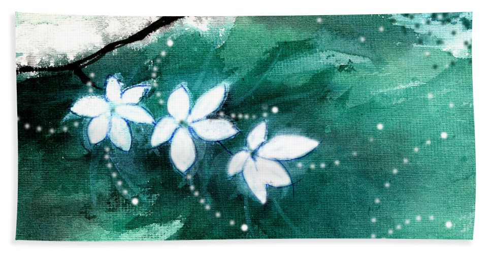 Nature Hand Towel featuring the painting White Flowers by Anil Nene