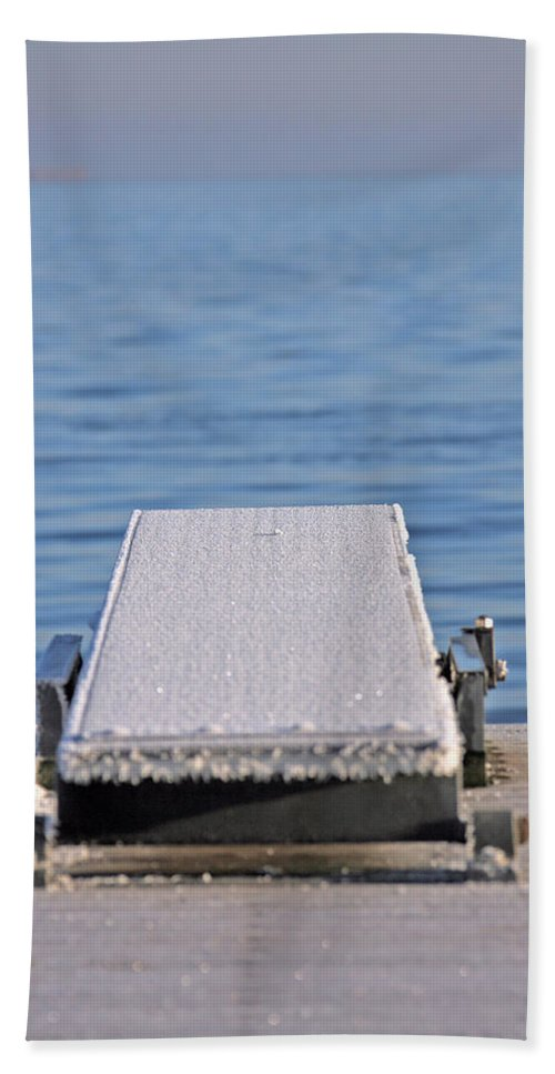 White Bath Sheet featuring the photograph White Frost Diving Board by Ralf Kaiser