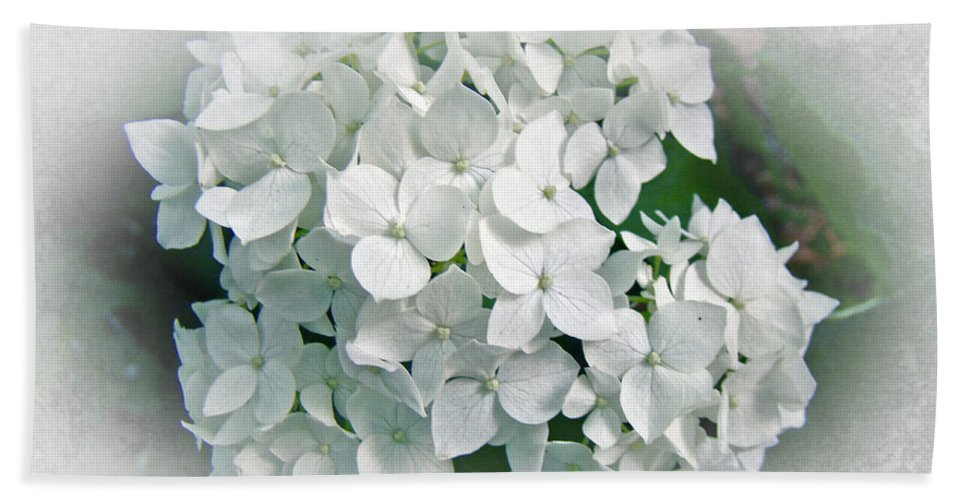 Hydrangea Bath Sheet featuring the photograph White Hydrangea by Mother Nature