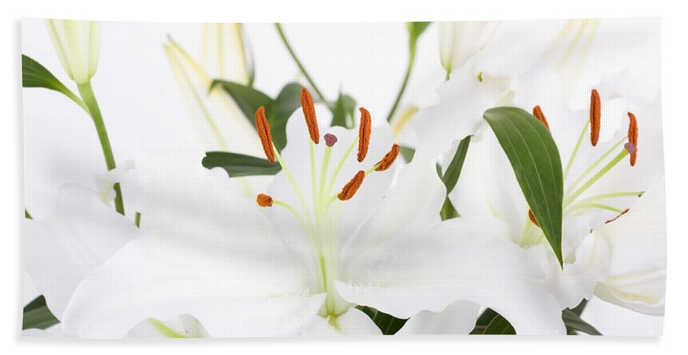 Lily Hand Towel featuring the photograph White Lilies And Background by Simon Bratt Photography LRPS