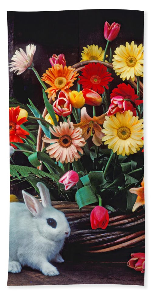 Bunny Hand Towel featuring the photograph White Rabbit By Basket Of Flowers by Garry Gay