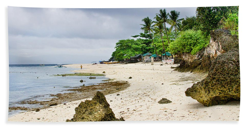Tropical Bath Sheet featuring the photograph White Sand Beach Moal Boel Philippines by James BO Insogna