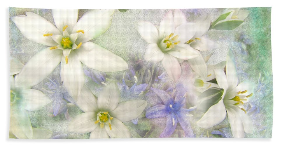 Nature Bath Sheet featuring the photograph White Stars II by Debbie Portwood
