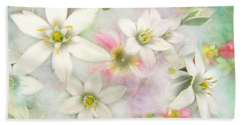 Nature Bath Sheet featuring the photograph White Stars IIi by Debbie Portwood
