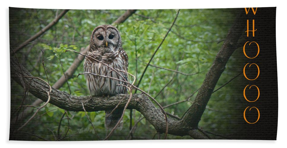 Owl Hand Towel featuring the photograph Whoooo Wishes You A Happy Halloween - Greeting Card - Owl by Mother Nature