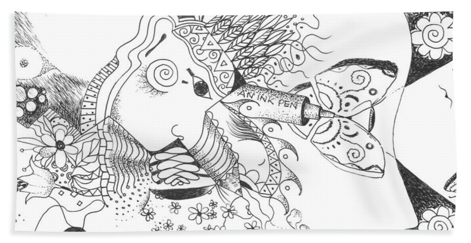 Sacred Hand Towel featuring the drawing Why Not Flowers by Helena Tiainen